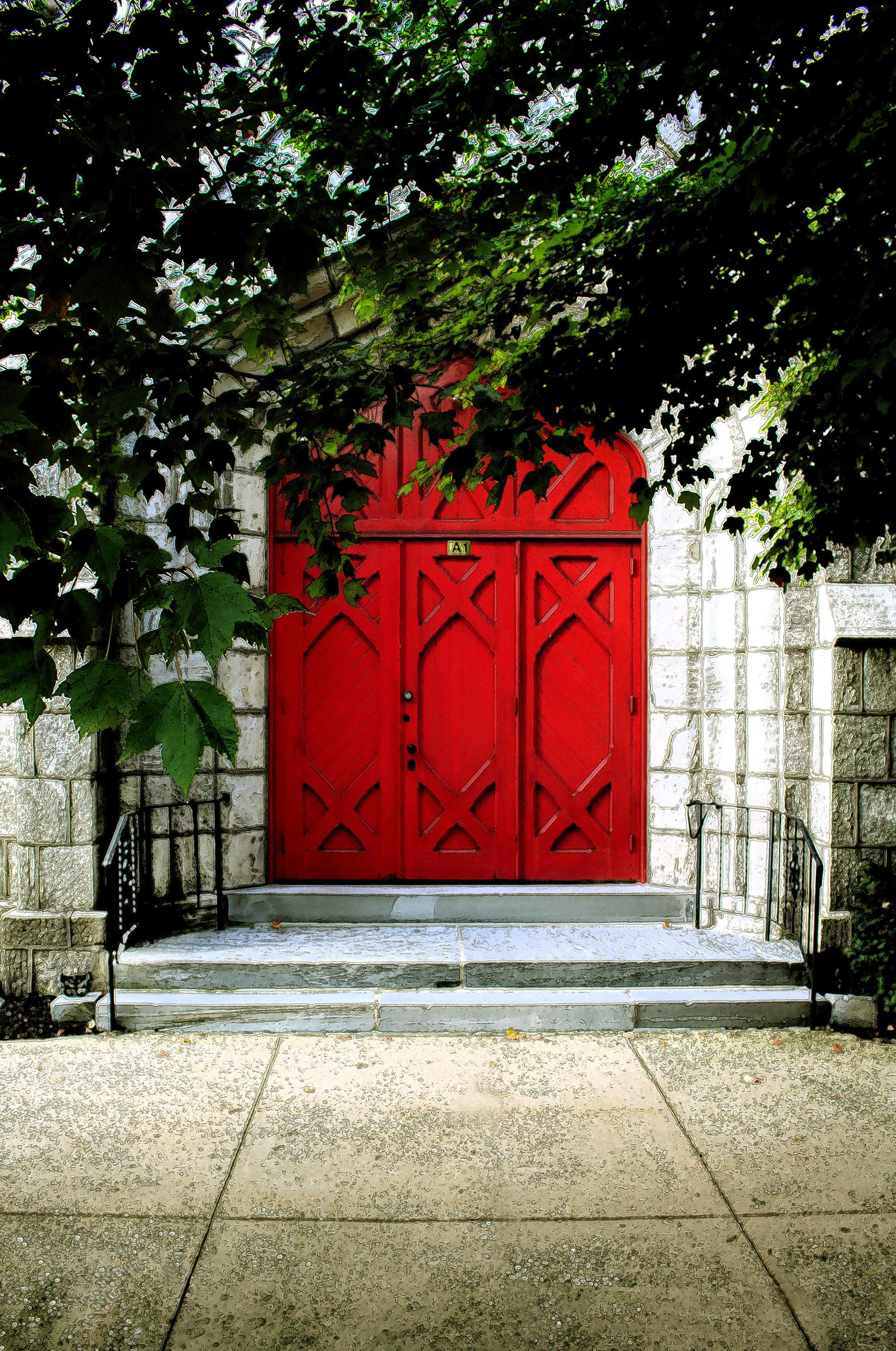 Red church doors of Lower Providence Presbyterian Church
